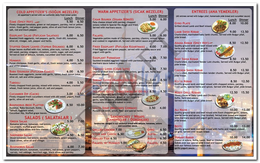 Bosphorus - TakeOut Menu