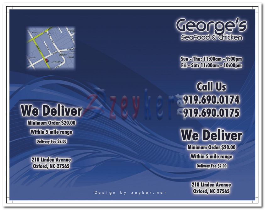 Georges SeaFood TakeOut Menu