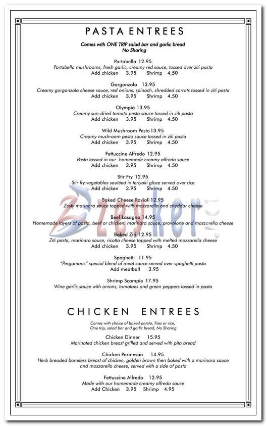 Pergamon Dinner Menu Page2